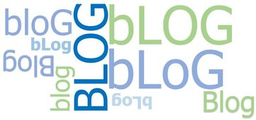 BLOG logo with the word blog displayed in different directions and in different shades of blue and green